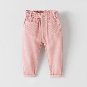 "🛍""Zara"" Baby Girl Striped Paper bag Pants"